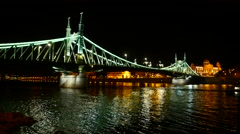 The famous Liberty Bridge in Budapest Stock Footage
