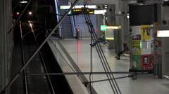 Train entering stop in underground station of Frankfurt Germany 4k Stock Footage
