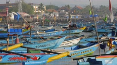 Harbour and village  in early morning,Pangandaran,Java,Indonesia Stock Footage
