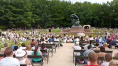 Summer concerts of Chopin in front of the Monument of Frederic Chopin, Warsaw Stock Footage
