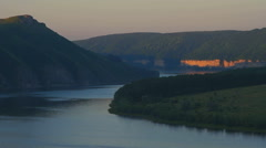 sunrise over meandering river - stock footage