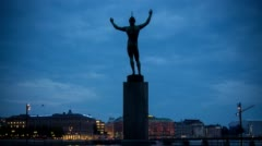 "Statue, ""Sun Singer"" in the center of Stockholm, Swden Stock Footage"