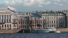 Flying up helicopter. Floating helipad is on the Neva river embankment Stock Footage