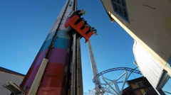 Freefall at Gröna Lund amusement park in central Stockholm Stock Footage