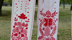 National embroidered towel Stock Footage