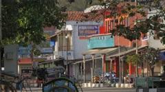 Early morning on scene on street in village,Pangandaran,Java,Indonesia - stock footage