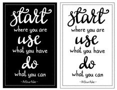 Inspirational quote Start where you are... Piirros
