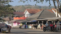 Early morning at market near harbour,Pangandaran,Java,Indonesia Stock Footage
