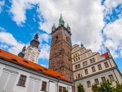 Black Tower and Town Hall in Klatovy Stock Photos
