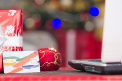 Credit card and lap top,Christmas night e-shop concept Kuvituskuvat