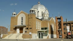 Russian Orthodox Cathedral of St Barbara in Edmonton, Alberta. Version 2 - stock footage
