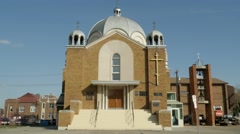 Russian Orthodox Cathedral of St Barbara in Edmonton, Alberta. Version 3 - stock footage