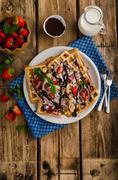 Original Belgian waffles - stock photo
