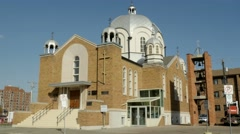 Russian Orthodox Cathedral of St Barbara in Edmonton, Alberta. Version 1 - stock footage