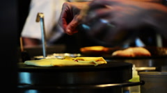 Restaurant chef cooks quesadilla. Stock Footage