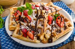 Original Belgian waffles - stock photo