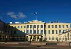 EDITORIAL: The Presidential Palace and its guards in Helsinki, Finland - stock photo