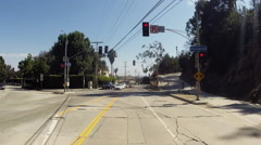 Stock Video Footage of POV Hollywood drive, stop light.