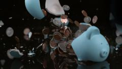 Piggy bank breaking in slow motion; shot on Phantom Flex 4K at 1000 fps Stock Footage