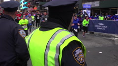 New York City police monitor conditions at the New York Marathon. Stock Footage