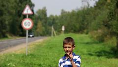 Violate the rules of the road can not be the boy shows Stock Footage