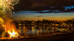 Walpurgis celebration in Växjö, Sweden Stock Footage