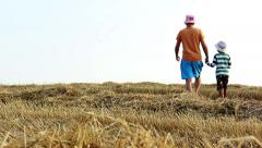 Father and son running on the field, mown field Stock Footage