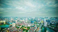 Stock Video Footage of Time Lapse - Ariel View of Downtown Hanoi, Vietnam