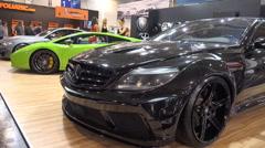 Mercedes tuning sports car panning motorshow Stock Footage