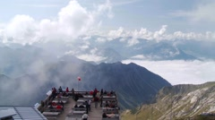 Nebelhorn cable car top station deck panorama, German Alps - stock footage