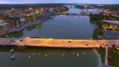 Scenic Downtown Green Bay Wisconsin Waterfront Aerial at Twilight Stock Footage