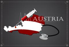 Stock Illustration of Map of Austria with Stethoscope and syringe.