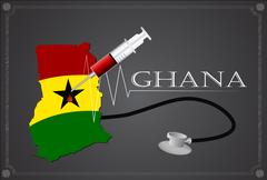 Stock Illustration of Map of Ghana with Stethoscope and syringe.