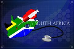 Map of South africa with Stethoscope and syringe. - stock illustration