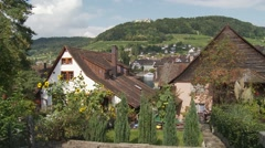 Pretty German village houses with garden - stock footage