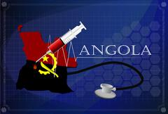 Map of Angola with Stethoscope and syringe. - stock illustration