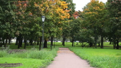 Camera review of the trees with yellow. red and green foliage in autumn park Stock Footage