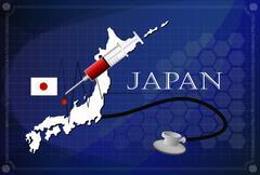 Map of japan with Stethoscope and syringe. - stock illustration