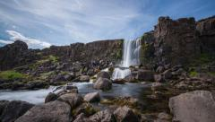 Iceland Waterfall called Öxarárfoss at Pingvellir National Park Stock Footage