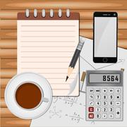 Top view on opened notebook, smartphone, pen and cup of coffee on dark wooden Stock Illustration