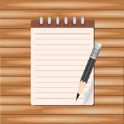 Stock Illustration of Vector Notepad paper with pencil on wood background.