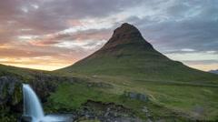 Kirkjufell And Kirkjufoss At Sunset 4k Time Lapse Stock Footage