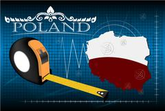 Map of Poland with ruler, vector Stock Illustration