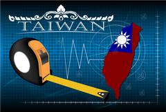 Map of Taiwan with ruler, vector. Stock Illustration