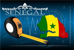 Map of Senegal with ruler, vector. - stock illustration