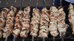 A man roasts skewers on nature Stock Footage