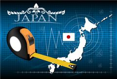 Map of Japan with ruler, vector. Stock Illustration