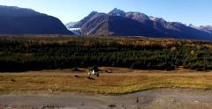 Alaskan Bush Plane Lands Outback Glacier Airstrip 2K Stock Footage