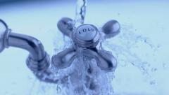 Cold water tap with water splashing in slow motion; shot on Phantom Flex 4K at - stock footage