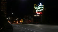 Portland Oregon White Stag Sign Night Empty Street Stock Footage
